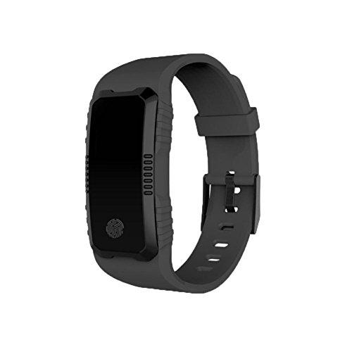 TPulling Mode Herzfrequenz-Blutdruckmessgerät Slot Handgelenk wasserdichte Bluetooth Smart Watch Tracker Smart Watch Wasserdichte Fitness Armband Sport mit Android iOS Leder (Schwarz)