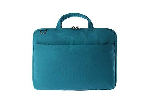 Tucano Darkolor Hartschalentasche für Laptop Notebook bis 14 Zoll, für den mobiler Arbeitsplatz mit praktischer Standfunktion und abnehmbarem Schultergurt - Hellblau
