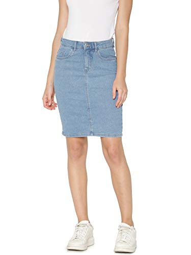 ONLY NOS Damen Onlkiss High DNM Skirt Pim002 Rock, Blau Light Blue Denim, 36 (Herstellergröße: S) (Bleistift Denim-bleistift-rock)