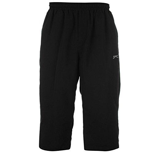Slazenger Herren Dreiviertel Hose 3/4 Sporthose Trainingshose Jogginghose Shorts Schwarz Extra Lge (Hose Kontrast-bund)