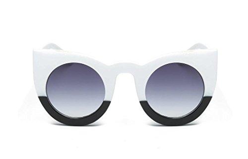 OverDose Unisex Sommer Frauen Männer Vintage Katzenaugen Reflektierenden Spiegel Weinlese Gläser Unisexart und weise Flieger Spiegel Objektiv Sonnenbrille (Katzenaugen Schwarz Weiß Und Brille Weinlese)