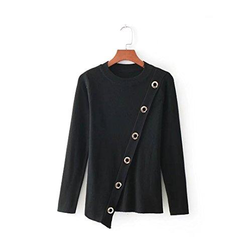 MEI&S Tricot femme col rond Top Slim Chandail chandail tricoté de cavalier Black