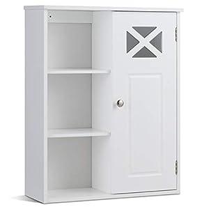 COSTWAY Hängeschrank mit verstellbarem Einlegeboden, Badezimmerschrank hängend, Wandschrank aus Holz, Badezimmer Schrank…