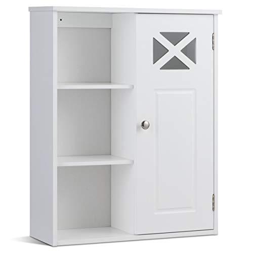 COSTWAY Hängeschrank aus Holz, Badezimmerschrank hängend, Wandschrank weiß, Badschrank mit verstellbarem Einlegeboden, Badezimmer Schrank 1 türig, Badhängeschrank 48 x 61 x 17,5cm