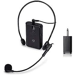 Système de microphone sans fil UHF rechargeable SHIDU et microphones cravate cravate, émetteur ceinture, parfait pour le karaoké, enregistrement, interviews, conférence, présentation sur scène (U2)