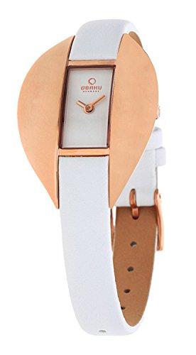 Obaku Denmark V155LVIRW - Reloj analógico para mujer de cuero blanco