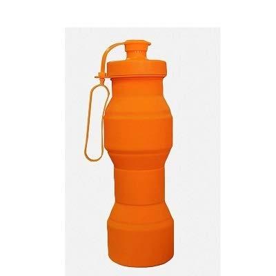 Nahrungsmittelgrad 800ML Silikon-zusammenklappbare Wasser-Flaschen-Reise-faltende Auto-tragbarer Kessel meine faltbare Getränk-Flasche (Capacity : 800ML, Color : Orange)