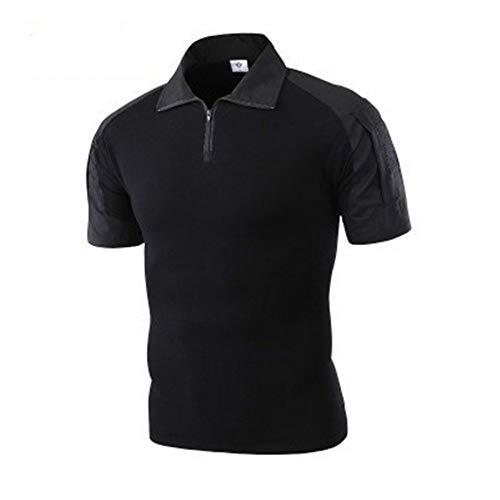 NISHISHOUZI Neue Männer Polo Army Combat Tactical Polo Shirts für Männer militärische Kurze Ärmel Top Camouflage Herren Polo Shirt schwarz M