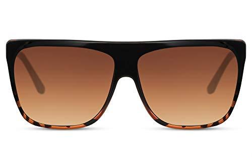 Cheapass Sunglasses Sonnenbrillen flach Schildkröten Rahmen und braunen Gläsern XXL UV400 Designer Schattierungen Frauen Gold Metallbügel Leopard