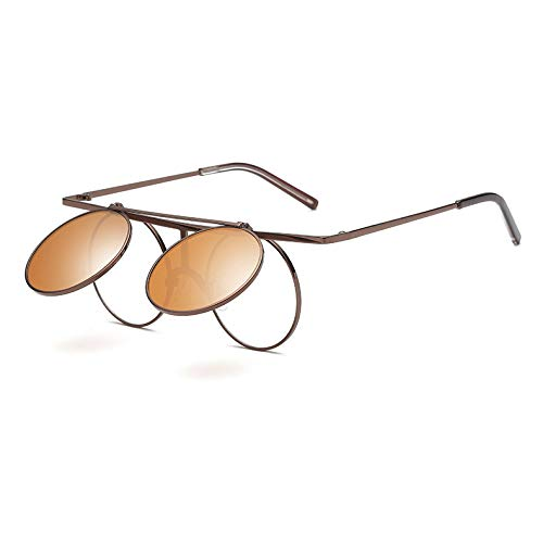 EgBert Steam Punk Uv400 Sonnenbrille Polarisierte Linse Flip-Ope Vintage Runde - Tan