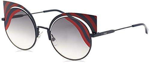 Fendi ff 0215/s, occhiali da sole donna, nero (mtdkblue red), 53