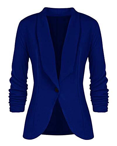 Minetom Damen Elegant 3/4 Geraffte Ärmel Blazer Sakko Einfarbig Slim Fit EIN Knopf Tailliert Geschäft Büro Jacke Kurz Mantel Anzüge Bolero Blau DE 34 -