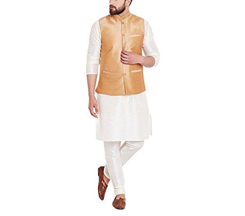 Sojanya Men's Cotton Dupion Silk Nehru Ethnic Jackets (SJR-208-40_Gold_Large)