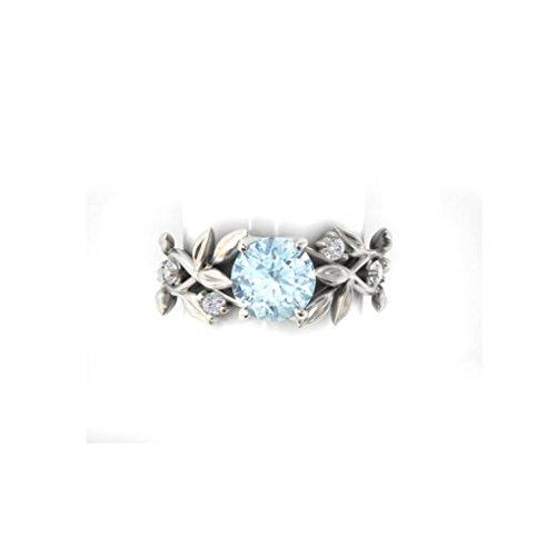 Gold Leaf 8 Licht (Schmuck Damen-Ring, Dragon868 Silber Floral transparent Diamant Pflanze Leaf Rings Trauung (8, Silber))
