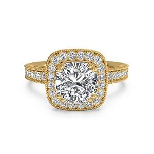 Addamas Verlobungsringe für Damen, 1,40 Karat, Kissenschliff, massives Gold