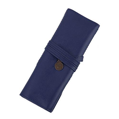 Pochette Rouleau de Stylo Sac Cosmétique Porte-brosse de Maquillage Rétro Bleu Foncé