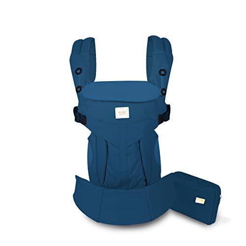 SONARIN Premium Babytrage mit Aufbewahrungstasche,Ergonomisch,Sonnenschutz haube,für Neugeborene& Kleinkinder (0-48 Monate),Maximale Belastung 20kg,Baby Tragetasche und Kindertrage(Blau)