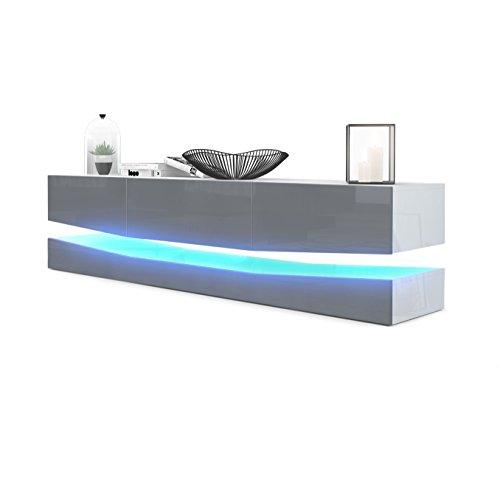 Vladon TV Board Lowboard City, Korpus in Weiß Hochglanz/Fronten in Grau Hochglanz inkl. LED Beleuchtung