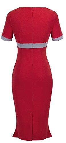 HOMEYEE Dame Elegante Bowknot Tunika mit hoher Taille Karriere Kleid KB220 Rot