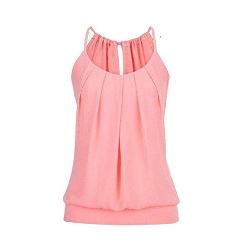 VEMOW Elegante Damen Frauen Mädchen Sommer Lose Runzeln O Neck Cami Tank Tops Weste Bluse T-Shirt Pullover T-stücke Pulli(Rosa, EU-38/CN-L)