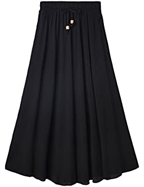 DEBAIJIA Falda Mujer Maxi Clásica Elegante Plisada Sedoso Toque Verano Playa Casual Casa Cintura Elástica Easy...