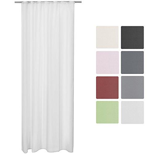 Beautissu Transparenter Kräuselband-Vorhang Amelie - 140x245cm Weiß - Voile Dekoschal Universalband Gardine Off-weiße Fenster Gardinen