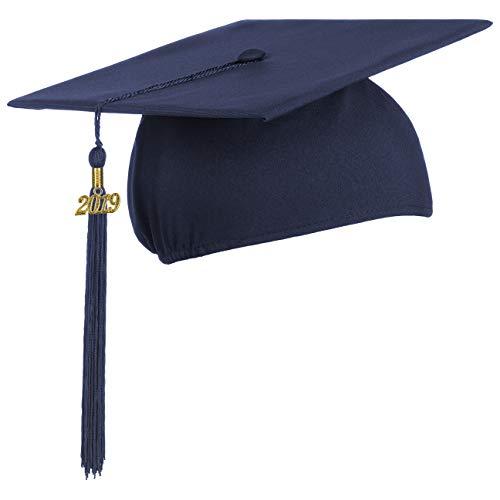 Lierys Doktorhut (Studentenhut) mit 2019 Jahreszahl Anhänger, Hut für Abschlussfeiern vom Studium an Universität, Hochschule oder Abitur, Absolventenhut in der Farbe royal blau, Einheitsgröße