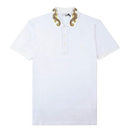 Versace Kollektion bedruckter Kragen Polo weiß Large White