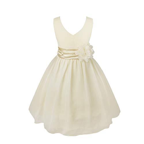 CHICTRY Mädchen Kleid Blumen-Mädchen Kleider Kinder Festlich Kinderkleid Hochzeit Kleid Partykleid Kleidung Freizeit Kommunionkleid Sahne 128