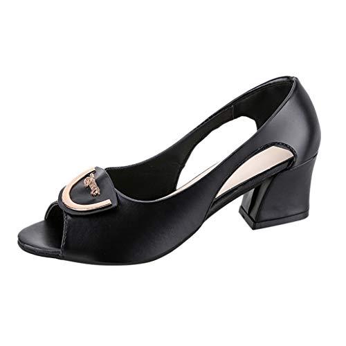 Kaister Damen mode Casual Slip On Peep Toe Platz Ferse Arbeit Schuhe High Heel Sandalen Plateau Sandaletten mit Blockabsatz Hochzeit Abiball