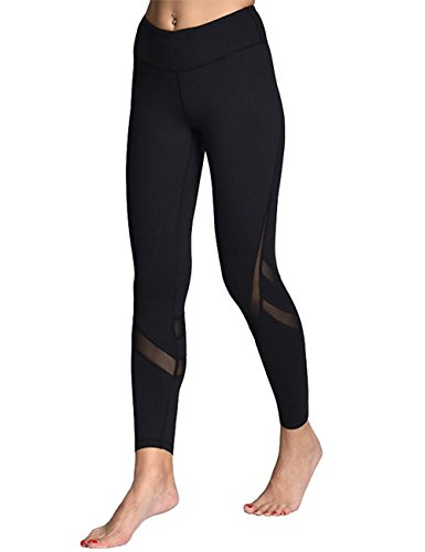 Mujer Pantalones Deporte Leggings Adelgazante Gym con Malla para Running Yoga Fitness con Gran Elásticos y Seca Rápido