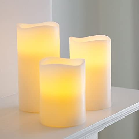 Set of 3 Real Wax Battery Operated Flickering LED Candles by Lights4fun