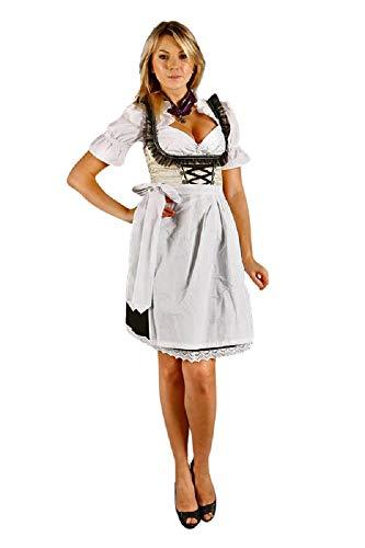 Edelnice Trachtenmode Sexy Mini Dirndl 3-teilig Creme schwarz mit passender Bluse und Schürze Gr 34