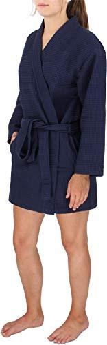 Damen Morgenmantel Baumwoll-Kimono mit Waffelpique - Öko Tex 100 - Premium Qualität Farbe Navy Größe XS