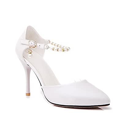 AgooLar Women's Soft Material Buckle Pointed Closed Toe Spikes Stilettos Solid Pumps Shoes, White, 37