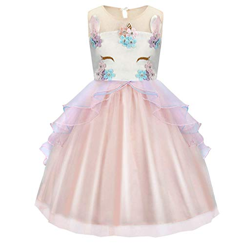Kids Girls Costume Cosplay Party Fancy Dress up Princess Ruffled Tulle Tutu Skirt Outfits Birthday Pageant Carnival Halloween Sleeveless Dresses Prom Ball Gown Baby Clothes Fit for 8-9 years (Kids Dress Outfits Up)