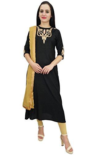 Atasi Schwarz Rayon Stickerei A-Linie Kurti Designer Womens Party Wear Clothing-58