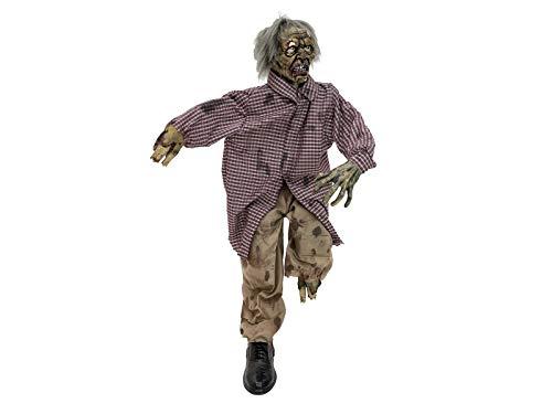 EUROPALMS Sitzender Halloween Zombie | Animierte Figur mit Blinkenden roten LED-Leuchteffekten in den Augen, Kopfbewegung und Soundeffekt durch integrierten Lautsprecher | Batteriebetrieben