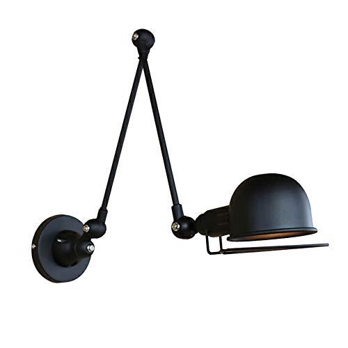 MTCTK Doppel-Abschnitt Langen Arm Wandlampe versenkbare verstellbare Wandleuchte Vintage industrielle Schmiedeeisen Wandbeleuchtung -