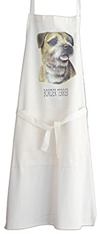 Border Terrier Breed of Dog with Story A Natural Cream Cotton Bib Apron - Baker Cook Gift