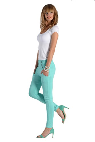 Damen Urban Skinny Röhre Leggins Treggings Jeggings Leggings Hose Reiterhose Optik Gr. XS S M L XL2XL Mintgrün