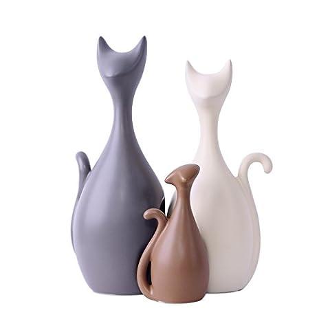 Lovely Katzen Familie Keramik Ornamente, moderne Art und kreative dekorative Elemente (3 Katzen) - Magenesis ®