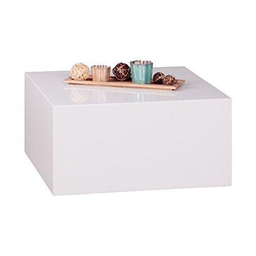 Home Collection24 Table Basse Monobloc Brillant 60 x 60 x 30 cm MDF Laqué Blanc – Table de Salon Design Cube Carré – Lounge Table d'appoint Cube