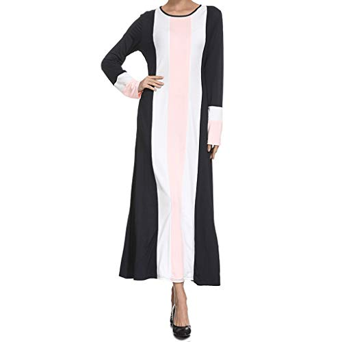 Lucky Mall Weniger Bairam! Frauen Mode Rundhals Kontrast-Kleid, Damen Lange Ärmel Robe Islamische Gebetsanzug Mittlerer Osten Saudi Arabisch Traditionell ()