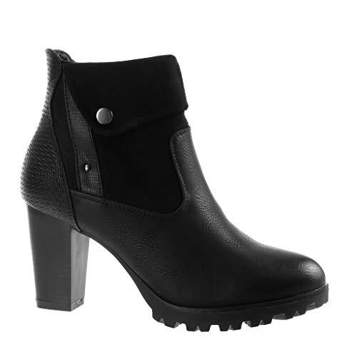 Angkorly - Damen Schuhe Stiefeletten - Biker - Reitstiefel Kavalier - Rock - Krokodilprint - große Tasten - Modern Blockabsatz high Heel 8.5 cm - Schwarz FR212 T 40 Biker-taste