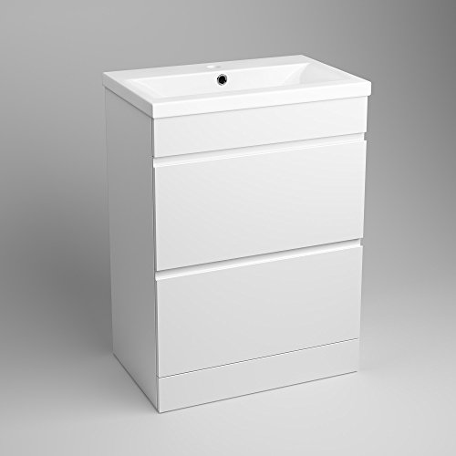 bathroom sink drawer unit 600 mm white gloss vanity sink unit ceramic basin bathroom 16490