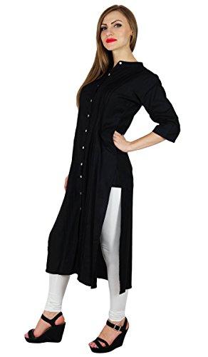 Bimba Frauen-Taste nach unten schwarz Rayon kurta kurti formale Tunikabluse 3/4 Arm Schwarz