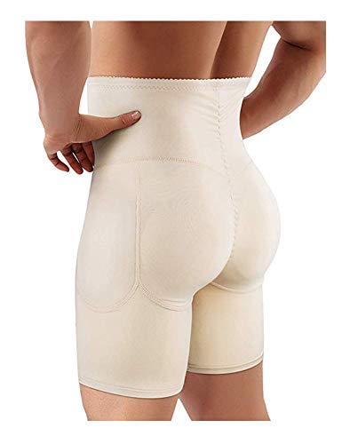 Ning Herren Abnehmen Figurformender Push Up Hip Enhancer Shapewear Hohe Taille Bauchformer Boxer-Shorts,Beige,L -