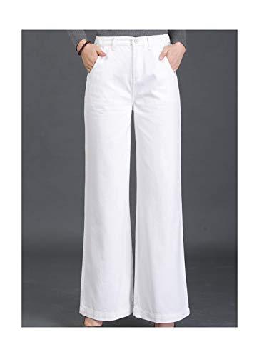 Texturer Female Elegant Wide Leg Flare Jeans for Women High Waist Womens Jeans Large Sizes Straight Women's Jeans Black White -