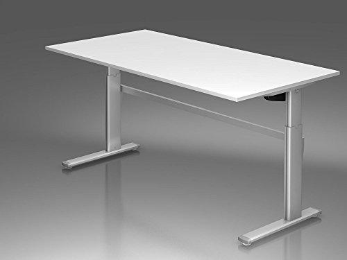 Elektrisch höhenverstellbarer Schreibtisch, 200x100cm, Weiß